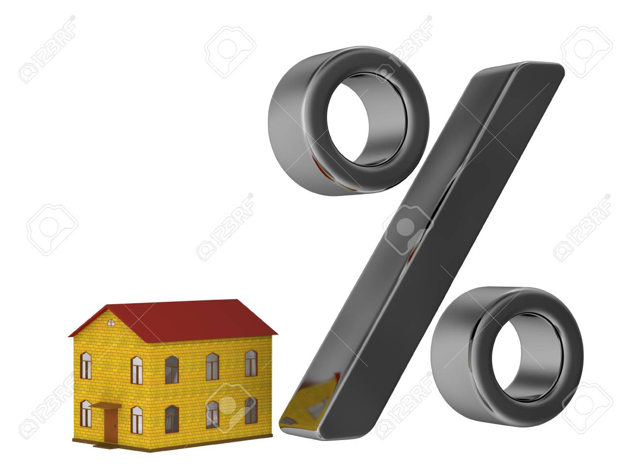The small house and the big percent Stock Photo - 12217352