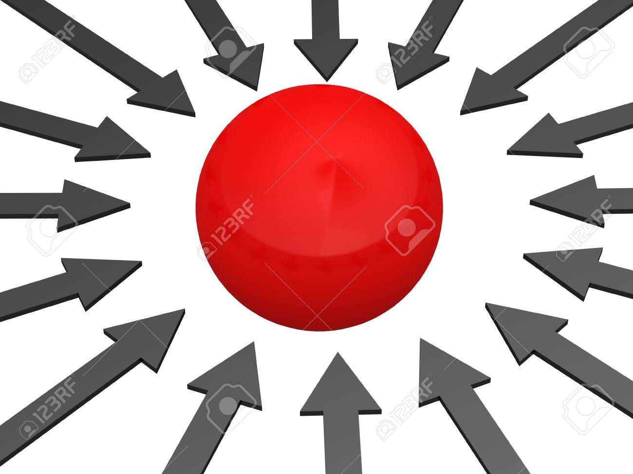 Res sphere and grey arrows on a white background Stock Photo - 12579963