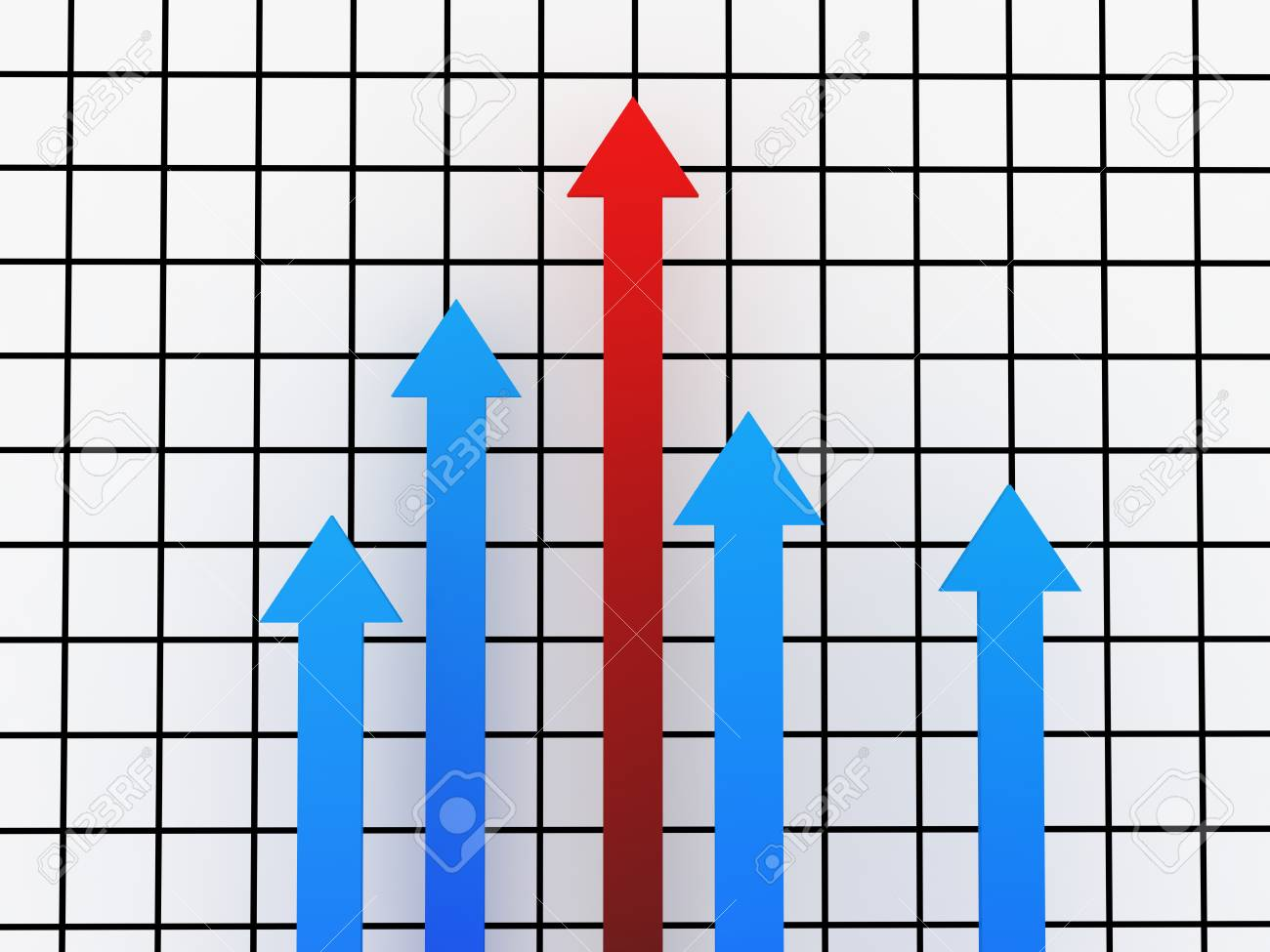The red and blue arrows shows the growth rates Stock Photo - 12580180