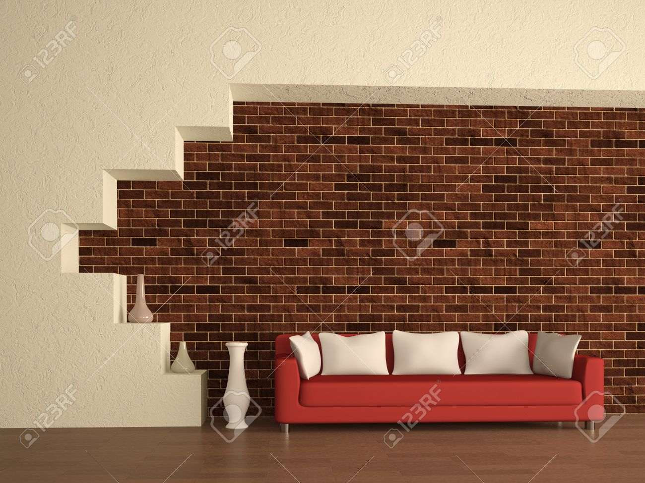 Sofa The Brick Custom The Red Sofa Near A Brick Wall Stock Photo Picture And Royalty . Decorating Inspiration