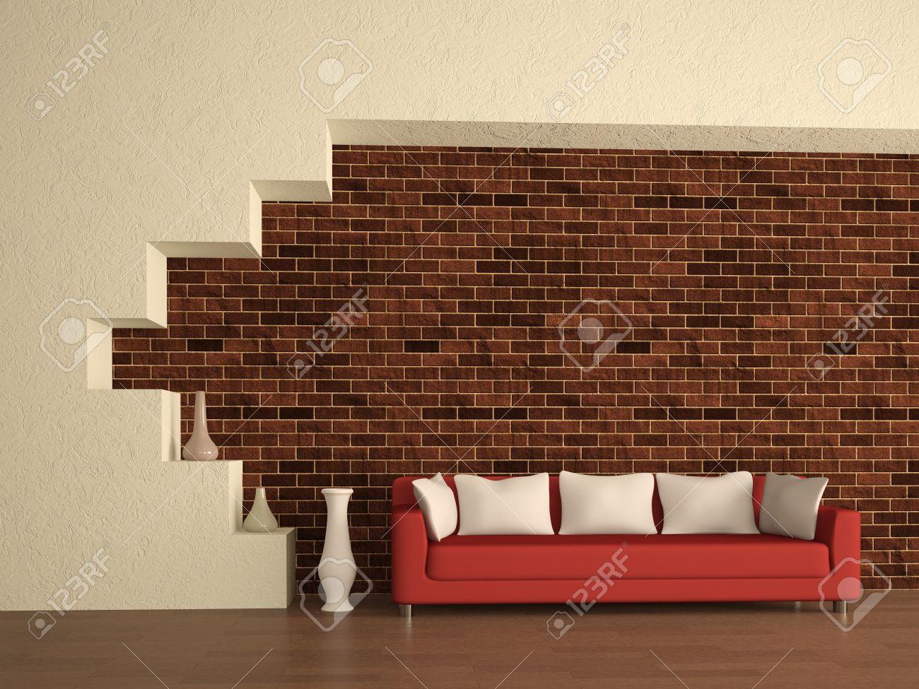 Stock Photo   The Red Sofa Near A Brick Wall