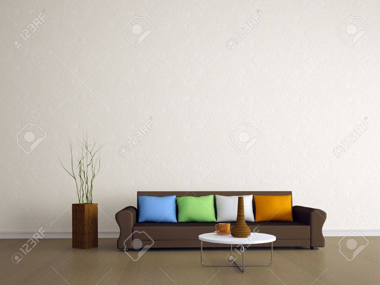 The Brown Sofa With Four Colored Pillows Stock Photo, Picture And ...
