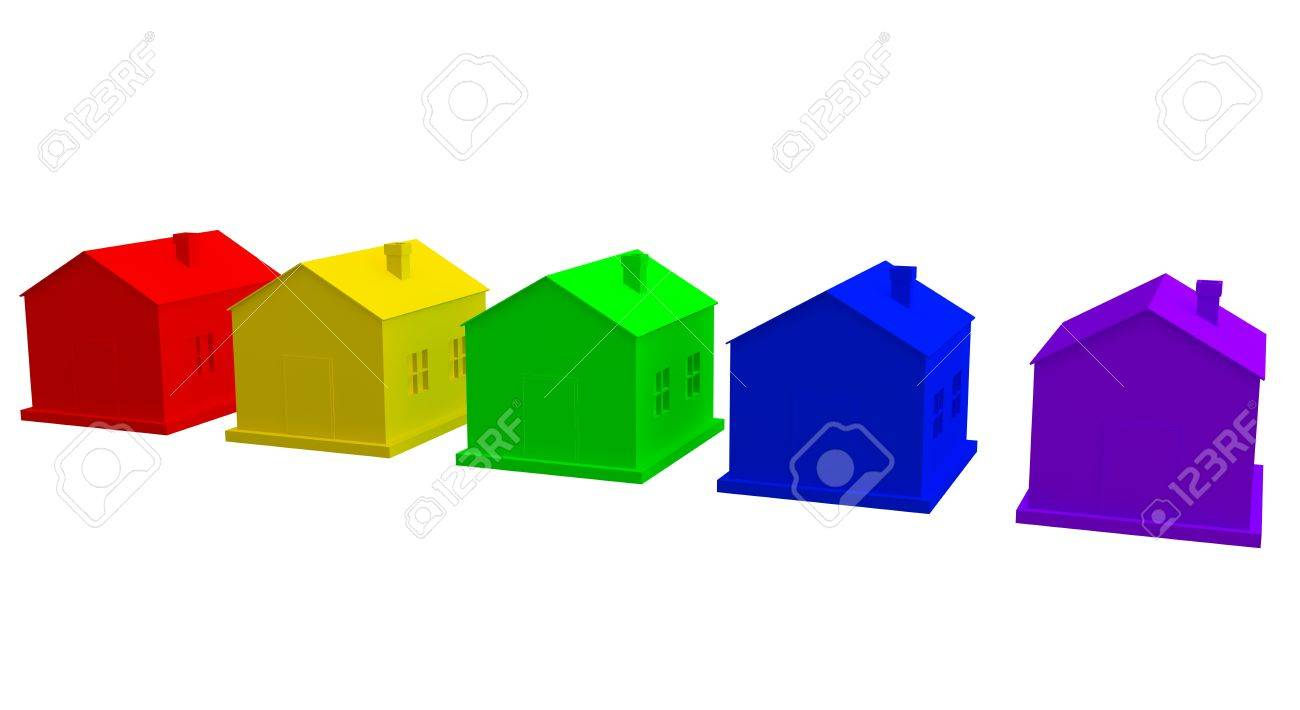The colored houses on a white background Stock Photo - 12910899