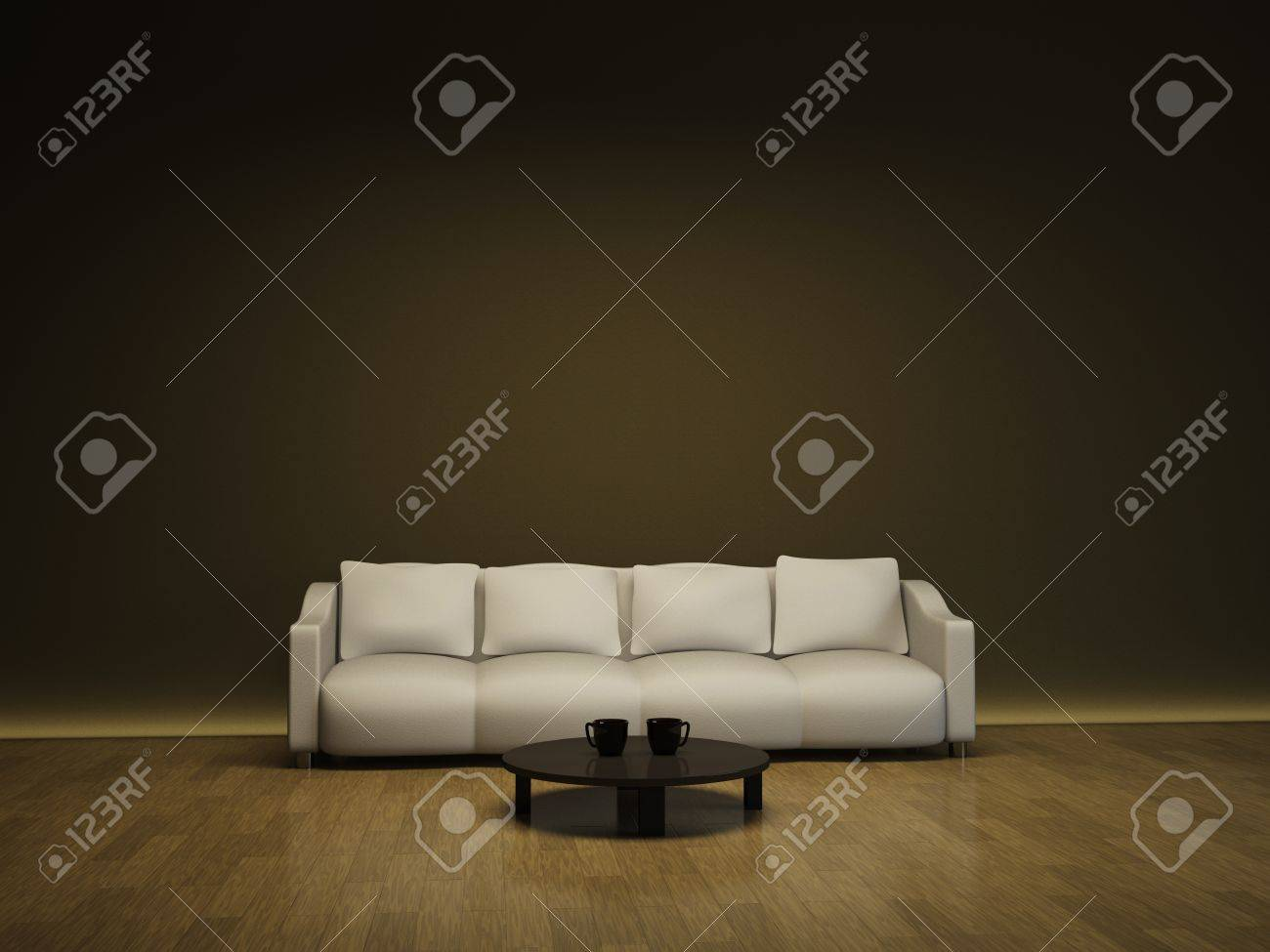Interior with a white sofa and a brown table Stock Photo - 13148688