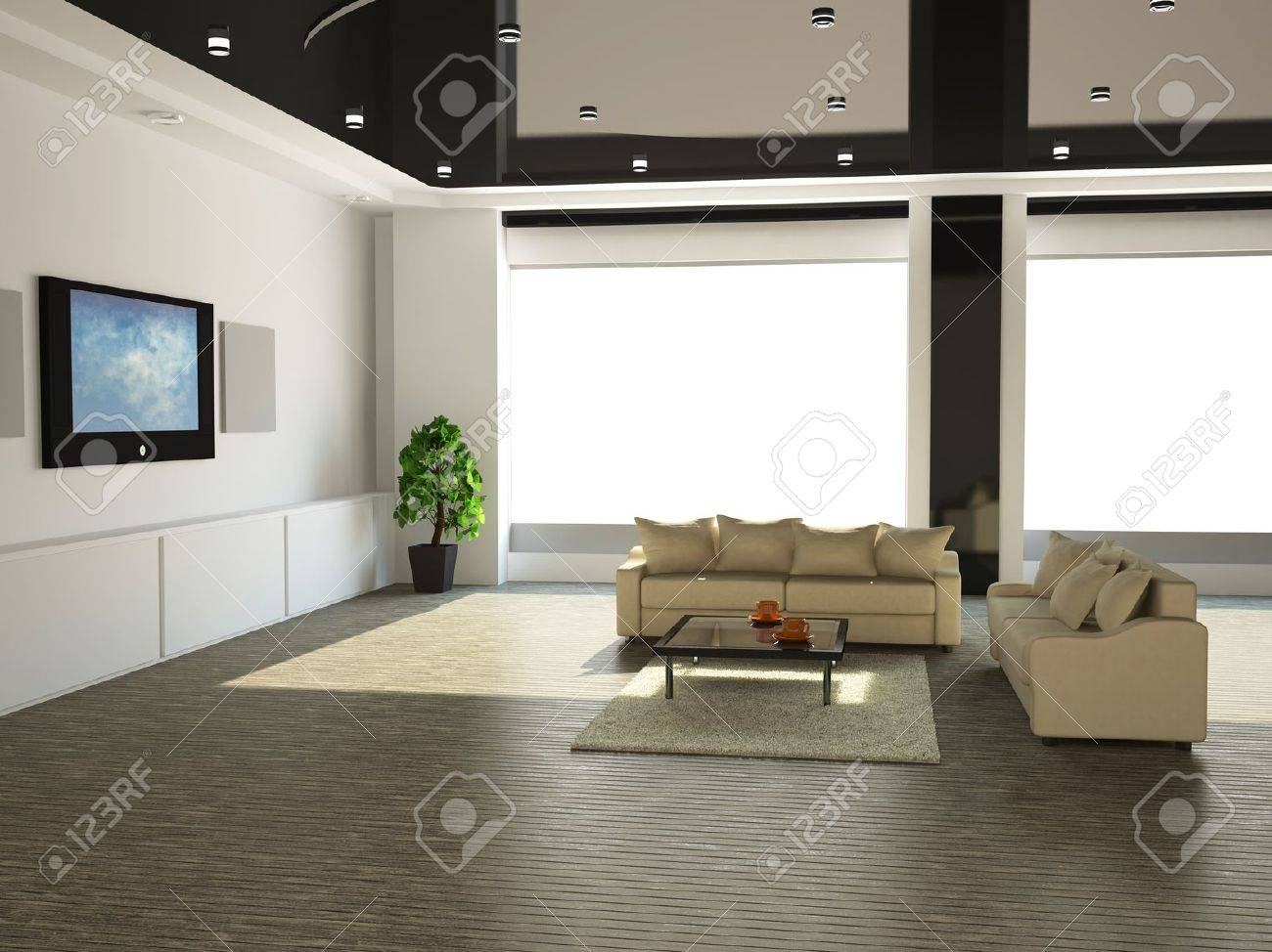 The interior of a large room with white sofa and TV Stock Photo - 13729185