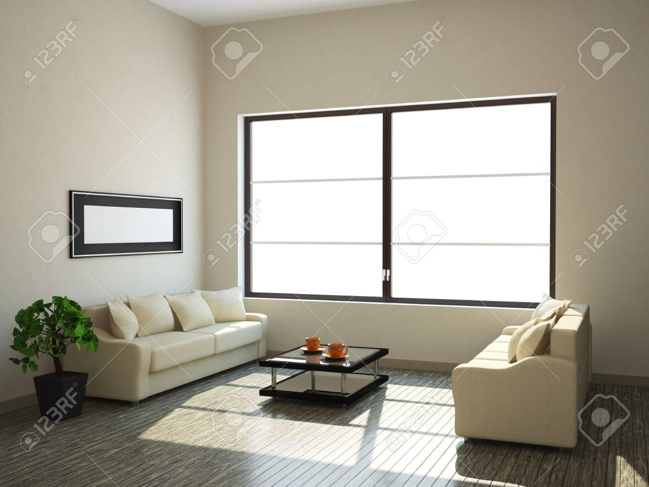 The interior of a large room with a window Stock Photo - 13729183
