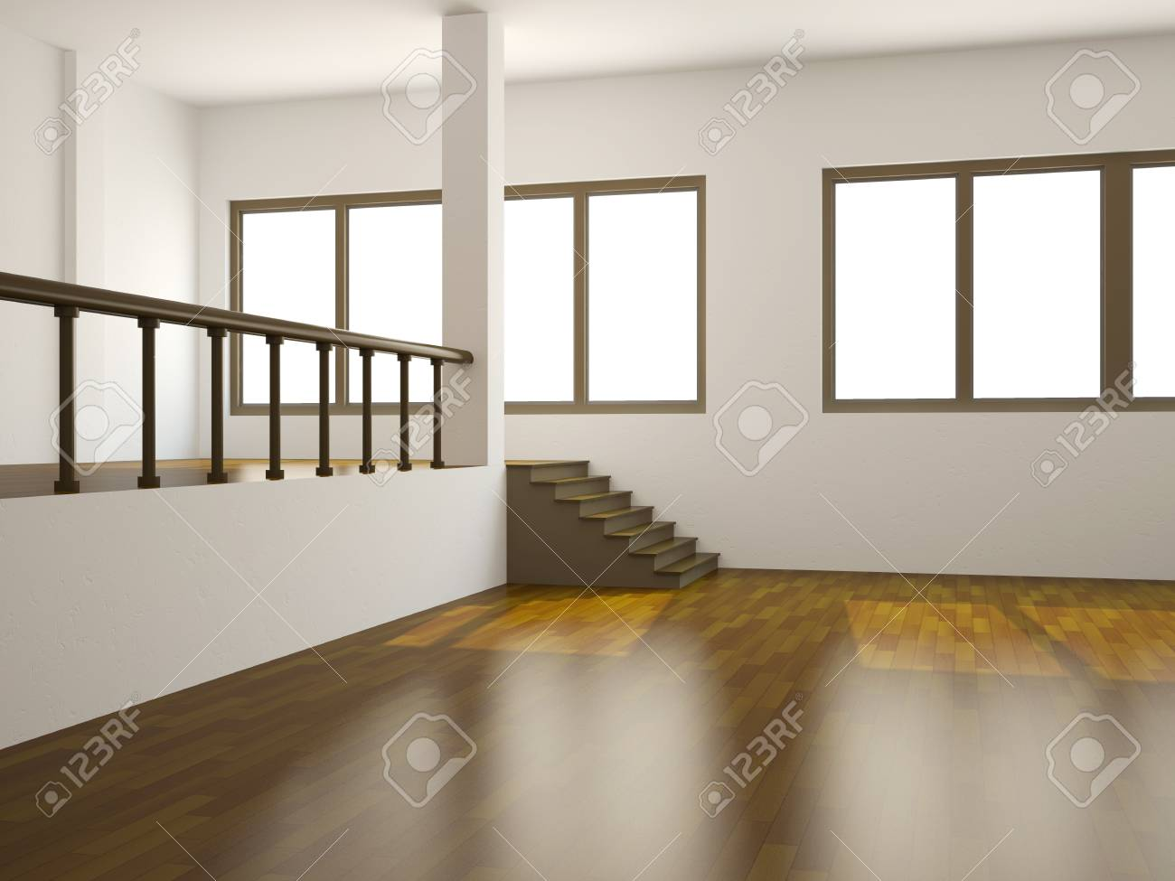 A large room with a ladder and the window Stock Photo - 14319559