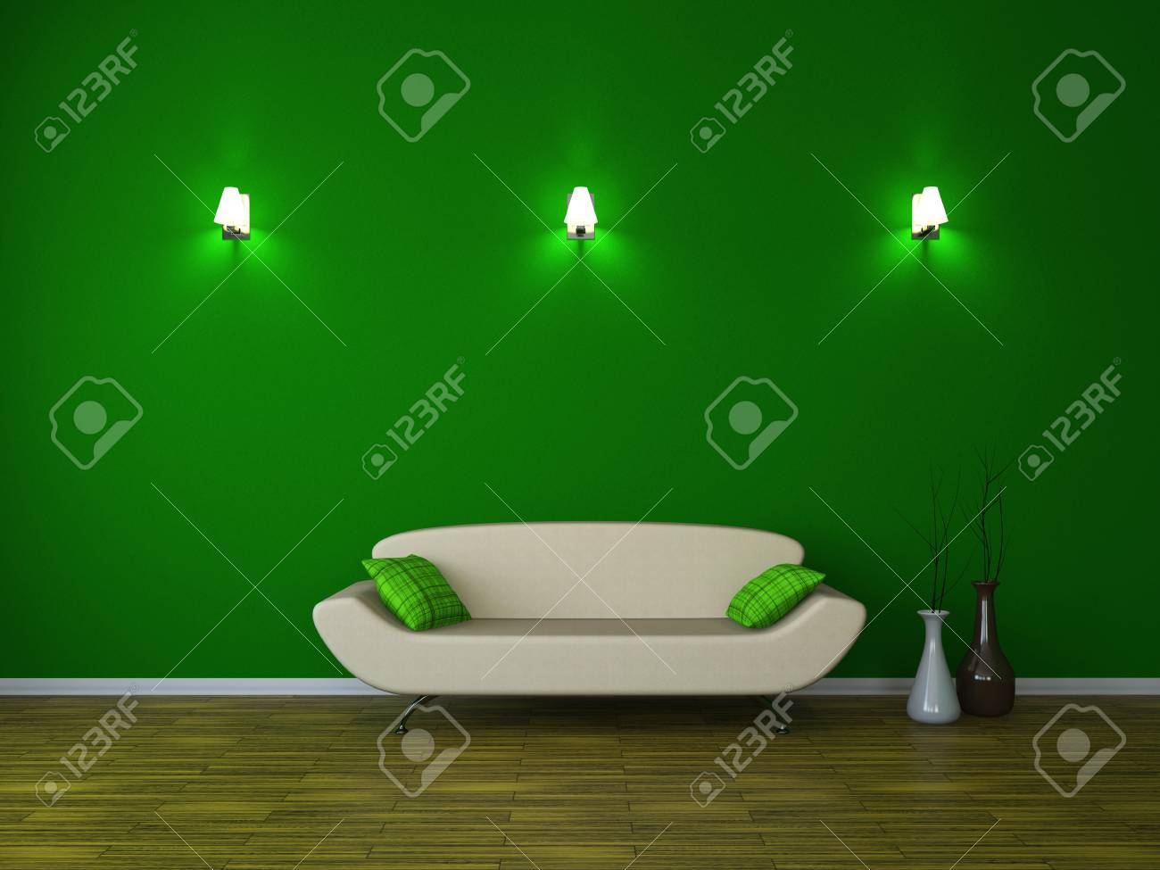 Room interior with a sofa and a sconces Stock Photo - 15121943