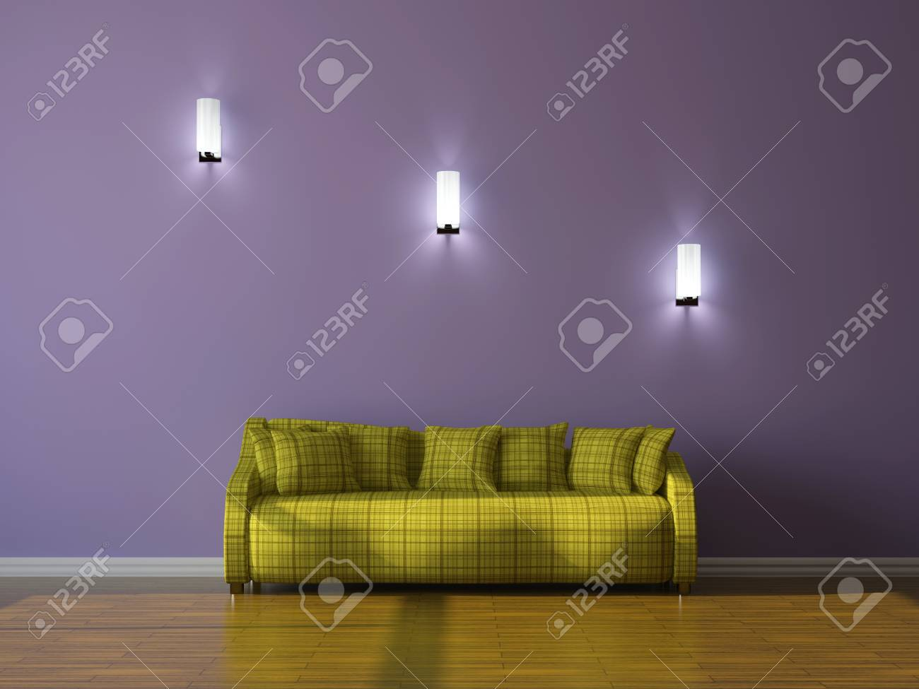 Green sofa with pillows  near the wall Stock Photo - 15523279