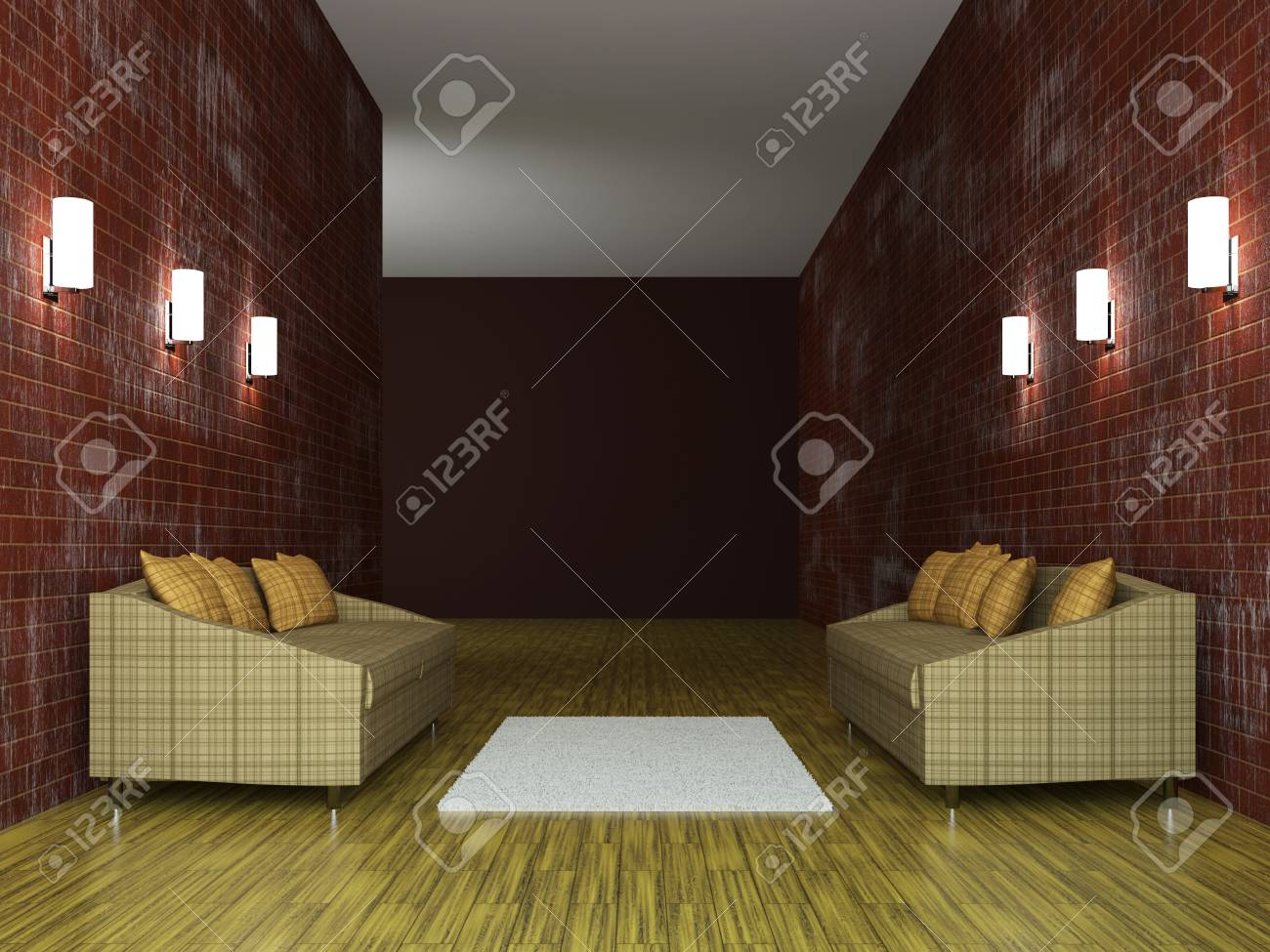 Sofas with pillows near the brick wall Stock Photo - 15523295