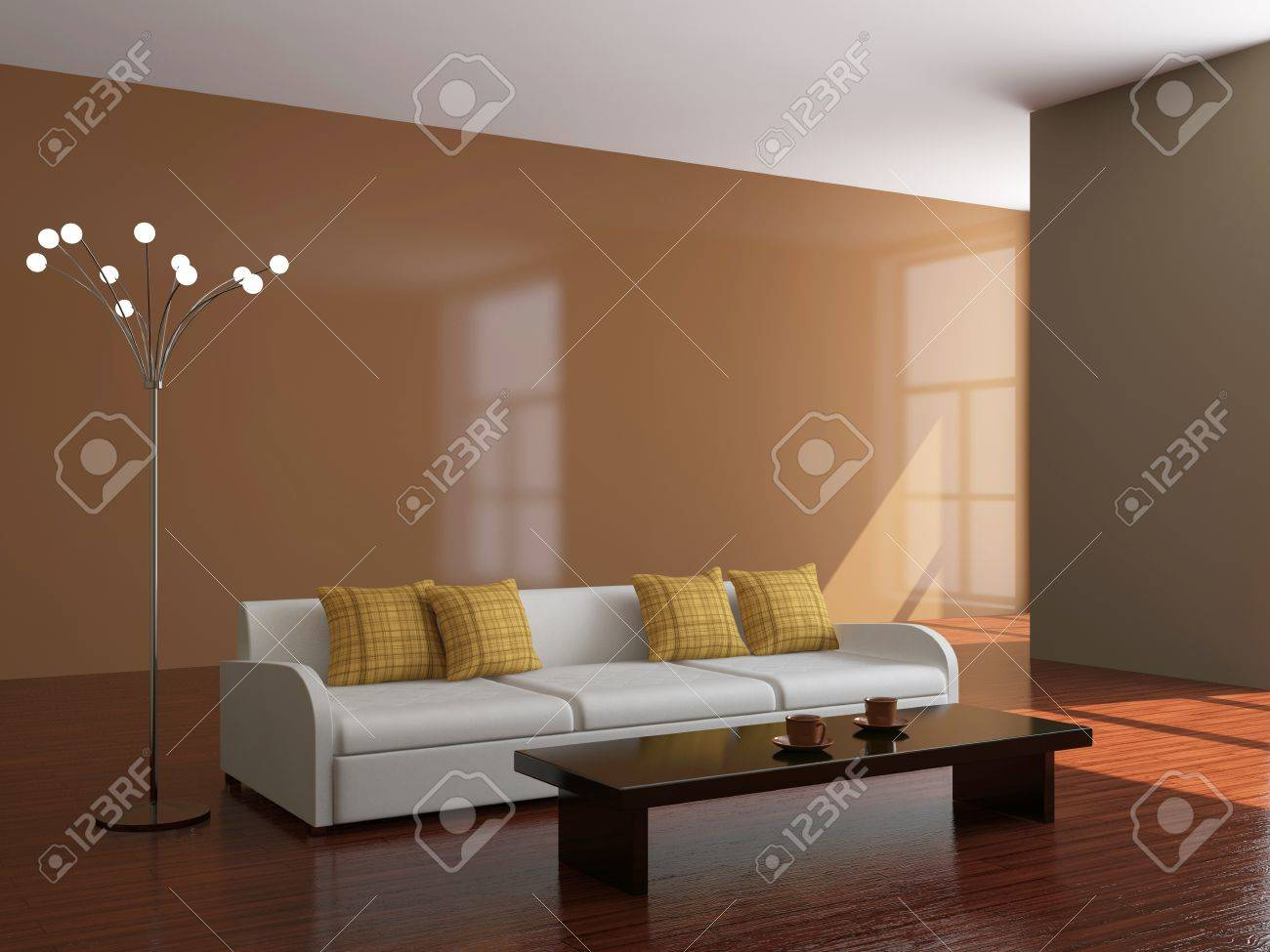Sofa and a lamp in the big room Stock Photo - 15523283