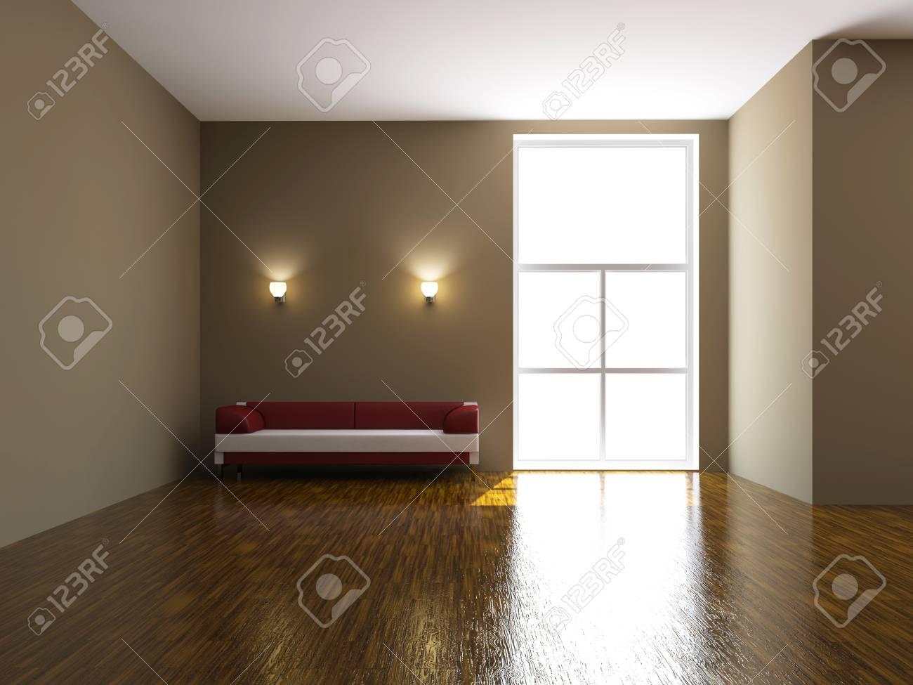 Leather sofa near the big window Stock Photo - 15523285