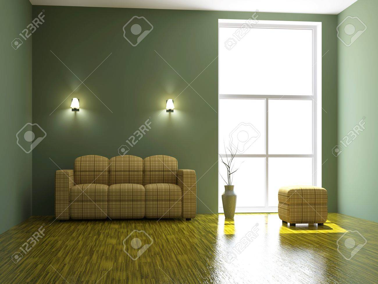Sofa And A Vase Near The Big Window Stock Photo Picture And Royalty