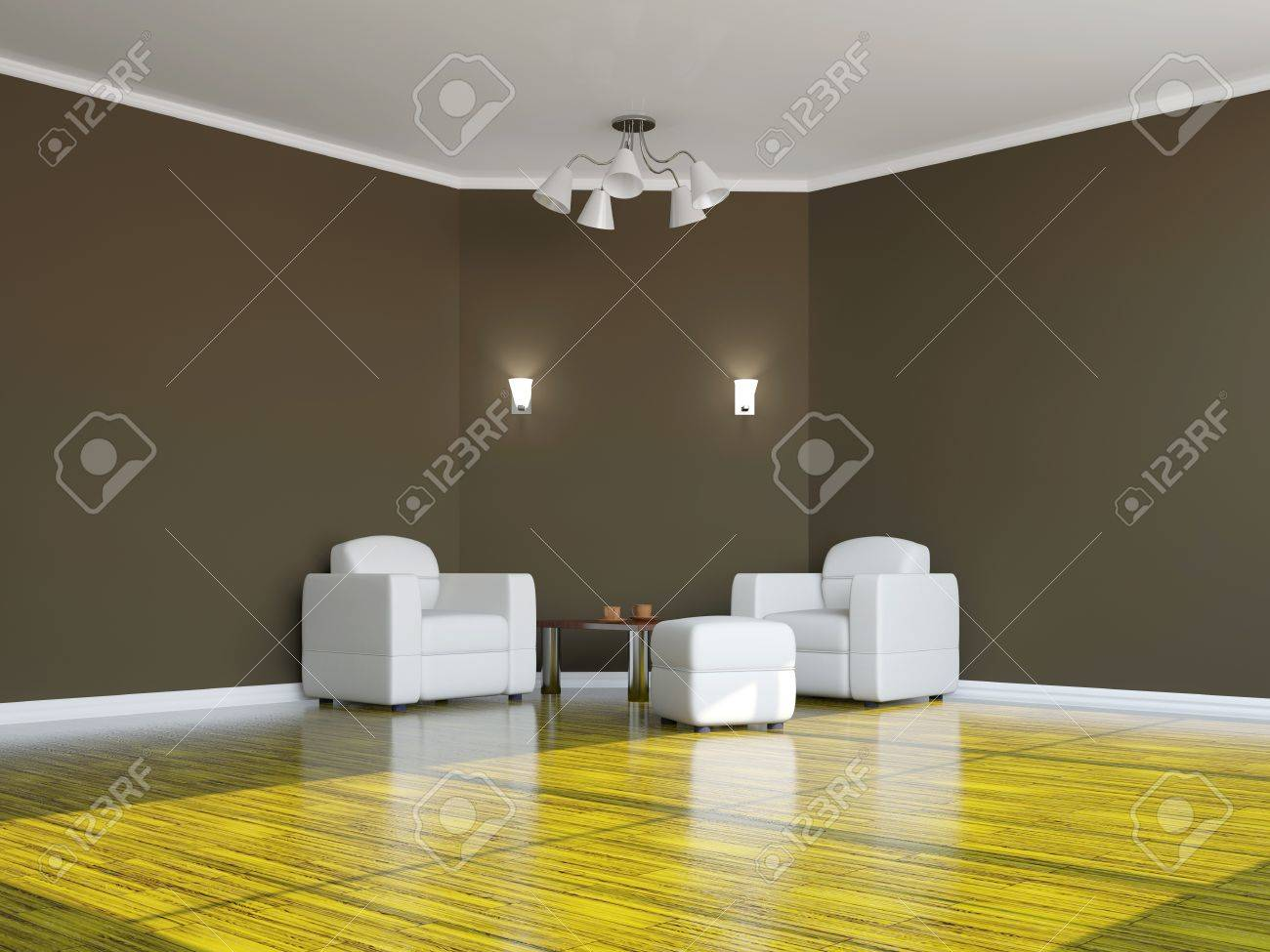 Armchairs and a table near the wall Stock Photo - 15523290