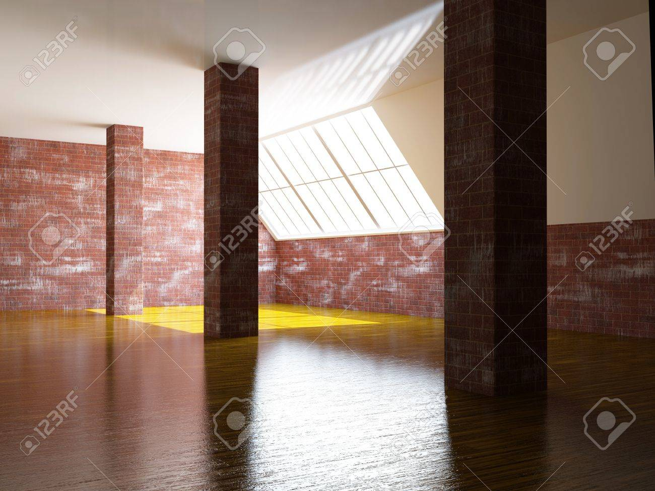 A large hall with a brick columns Stock Photo - 15523299