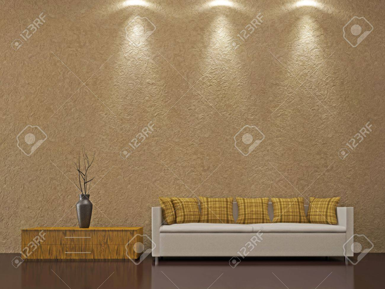 Sofa and a vase near the wall Stock Photo - 15651260