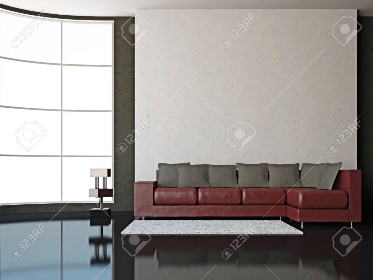 A Room Interior With Sofa Near Big Window Stock Photo Picture And