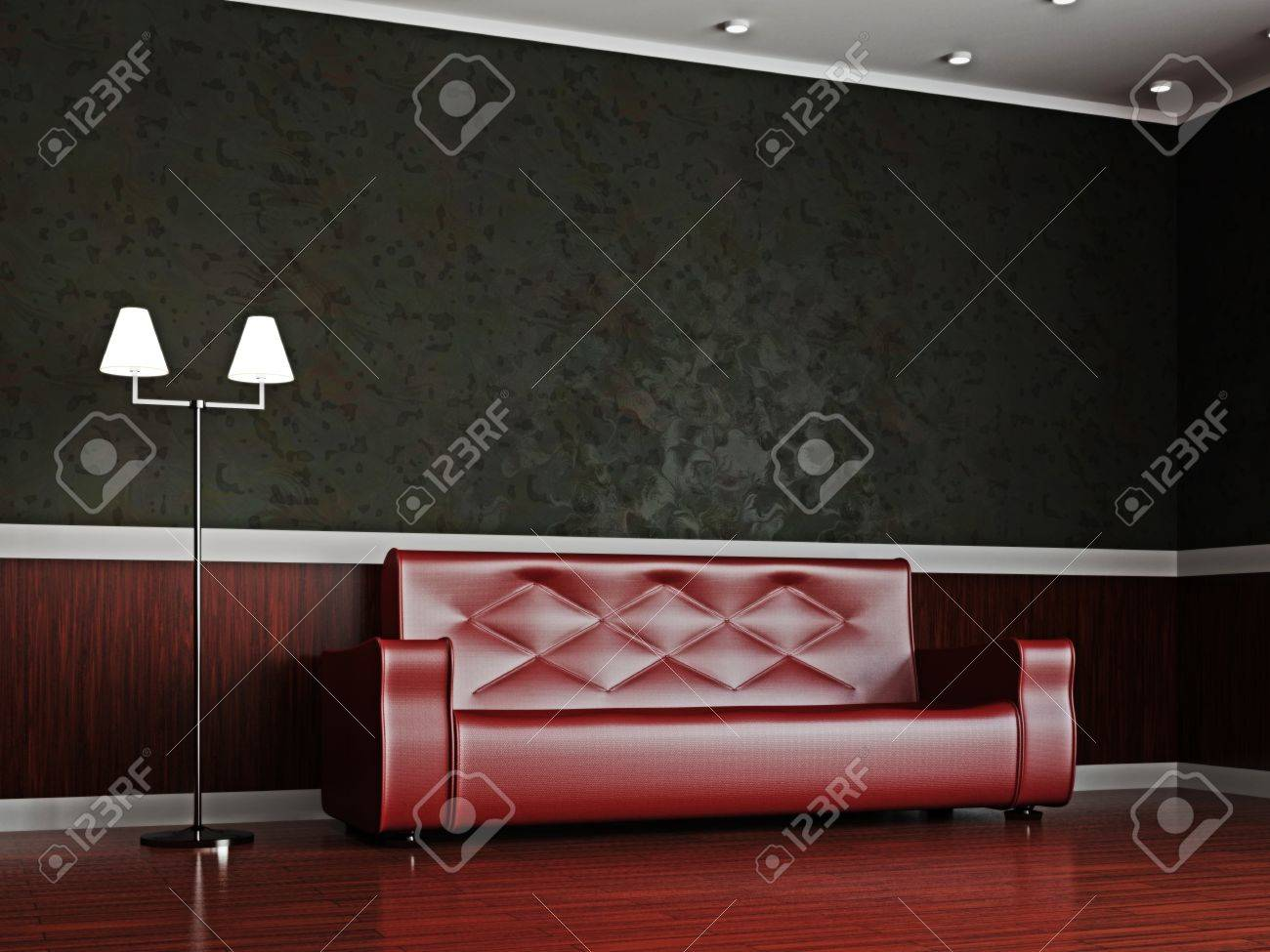 a room interior with a red leather sofa stock photo