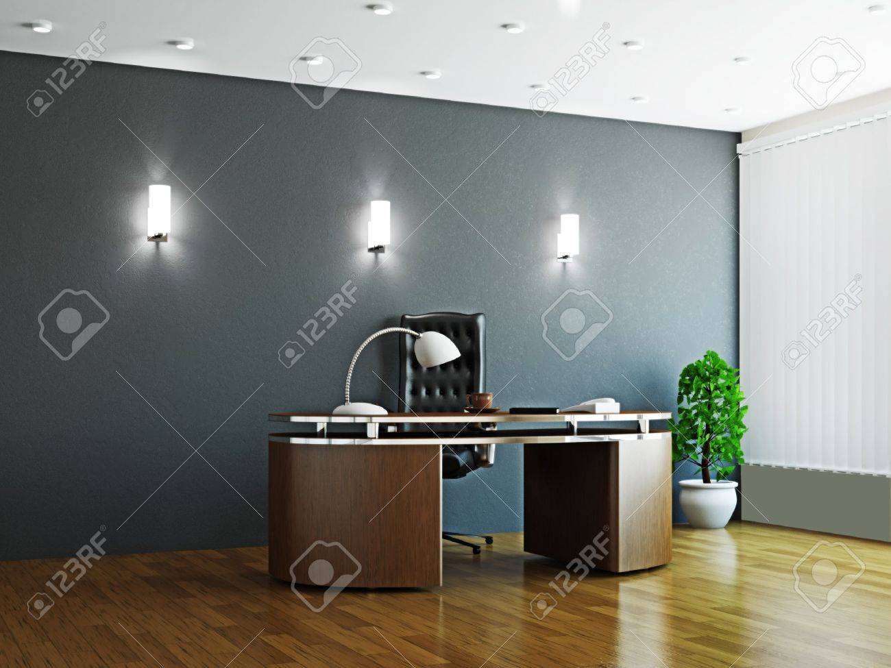 Large office with wooden furniture and window Stock Photo - 16249137