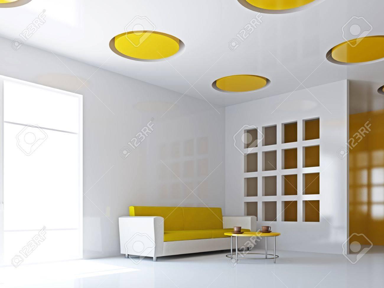 Das Große Wohnzimmer Mit Gelben Sofa An Der Wand Lizenzfreie Fotos ...