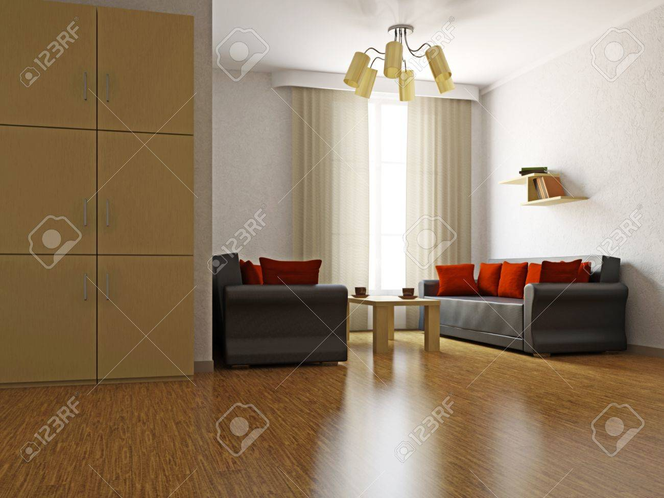 Livingroom with sofas and a table near  the window Stock Photo - 16430109