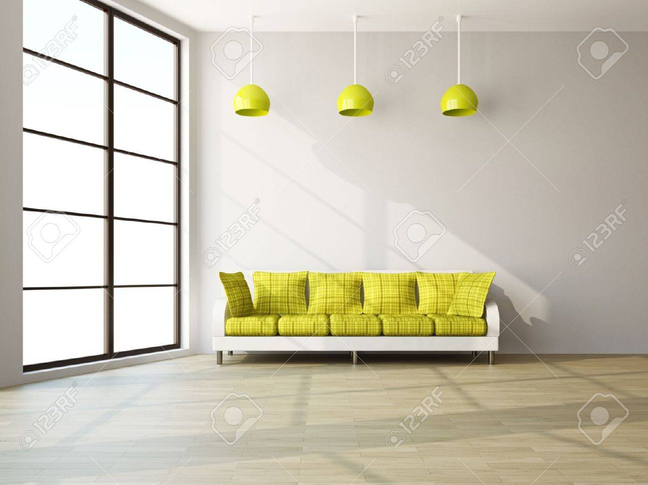 A room interior with a sofa near the wall Stock Photo - 16463539