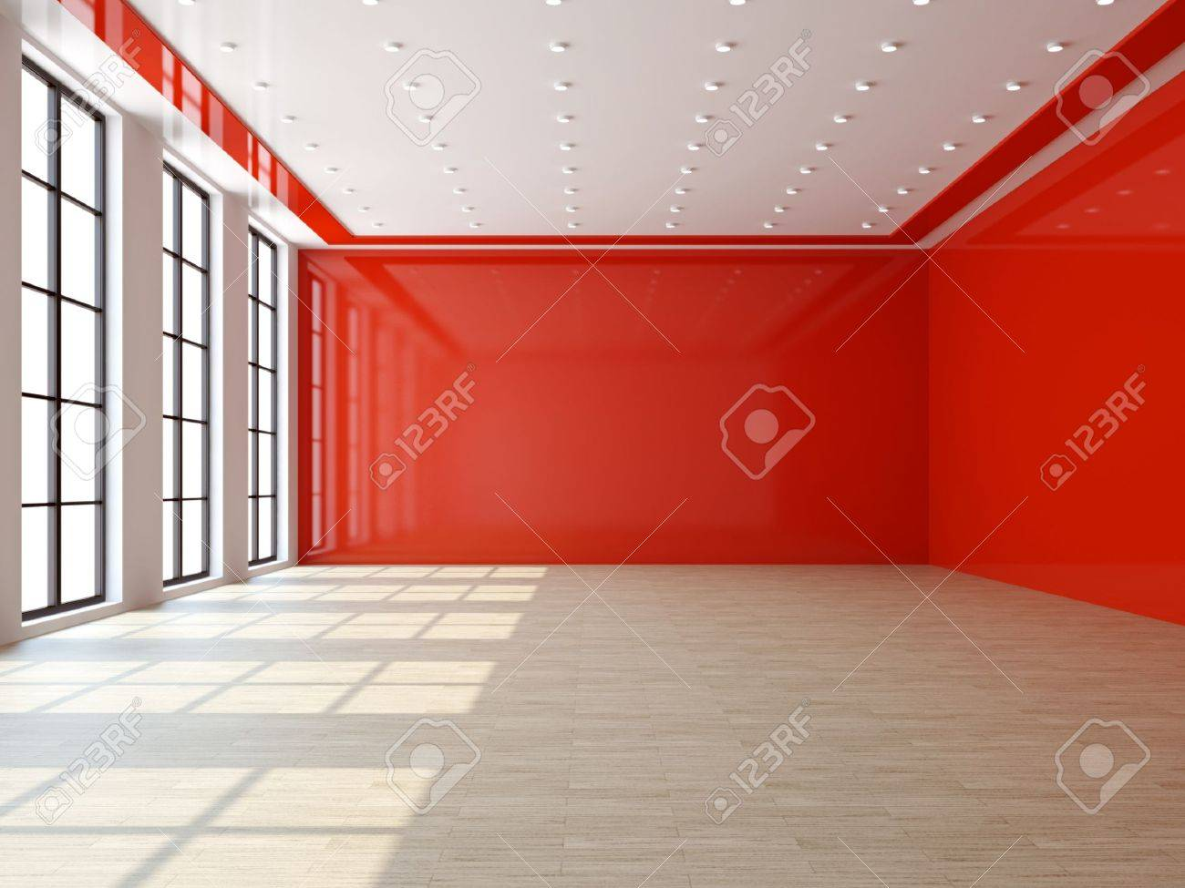 Big empty living room - Living Room Empty A Large Livingroom With A Big Windows Stock Photo Picture And