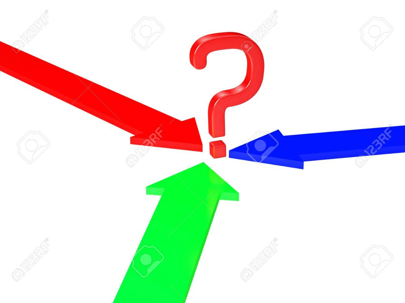 Question mark and the three colored arrows Stock Photo - 16659389
