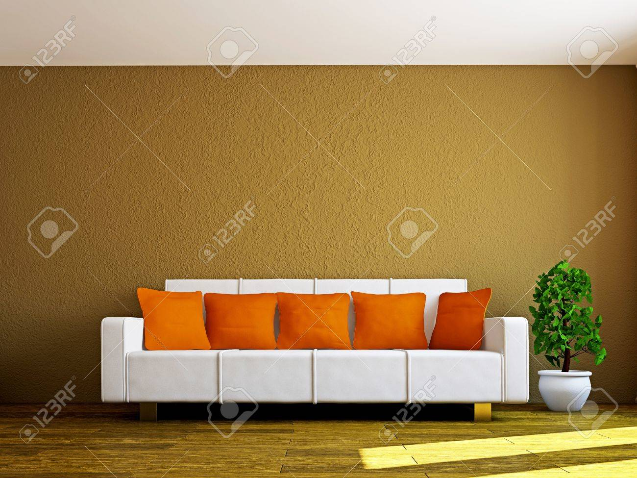 Livingroom with sofa and a plant near the wall Stock Photo - 16820258