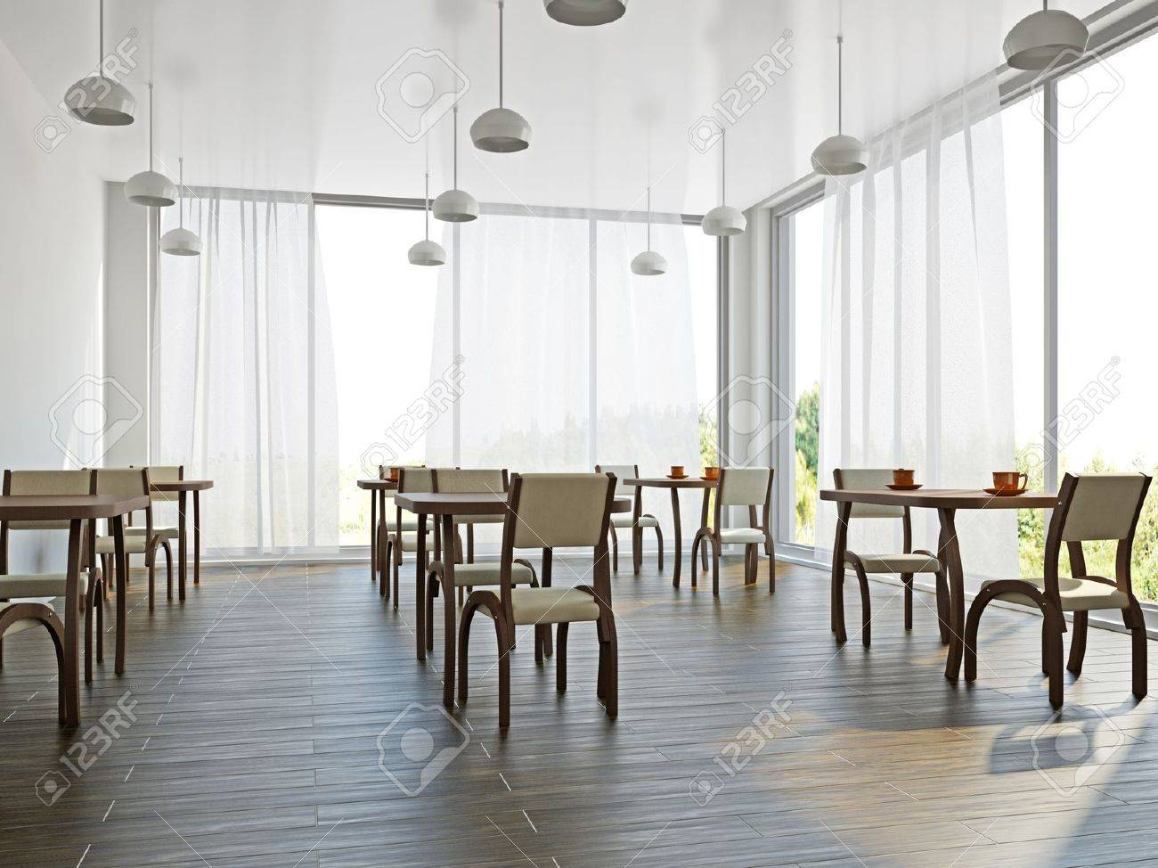 cafe with wooden furniture and large windows stock photo, picture