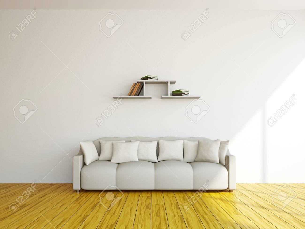 White sofa in the livingroom near the wall Stock Photo - 17180548