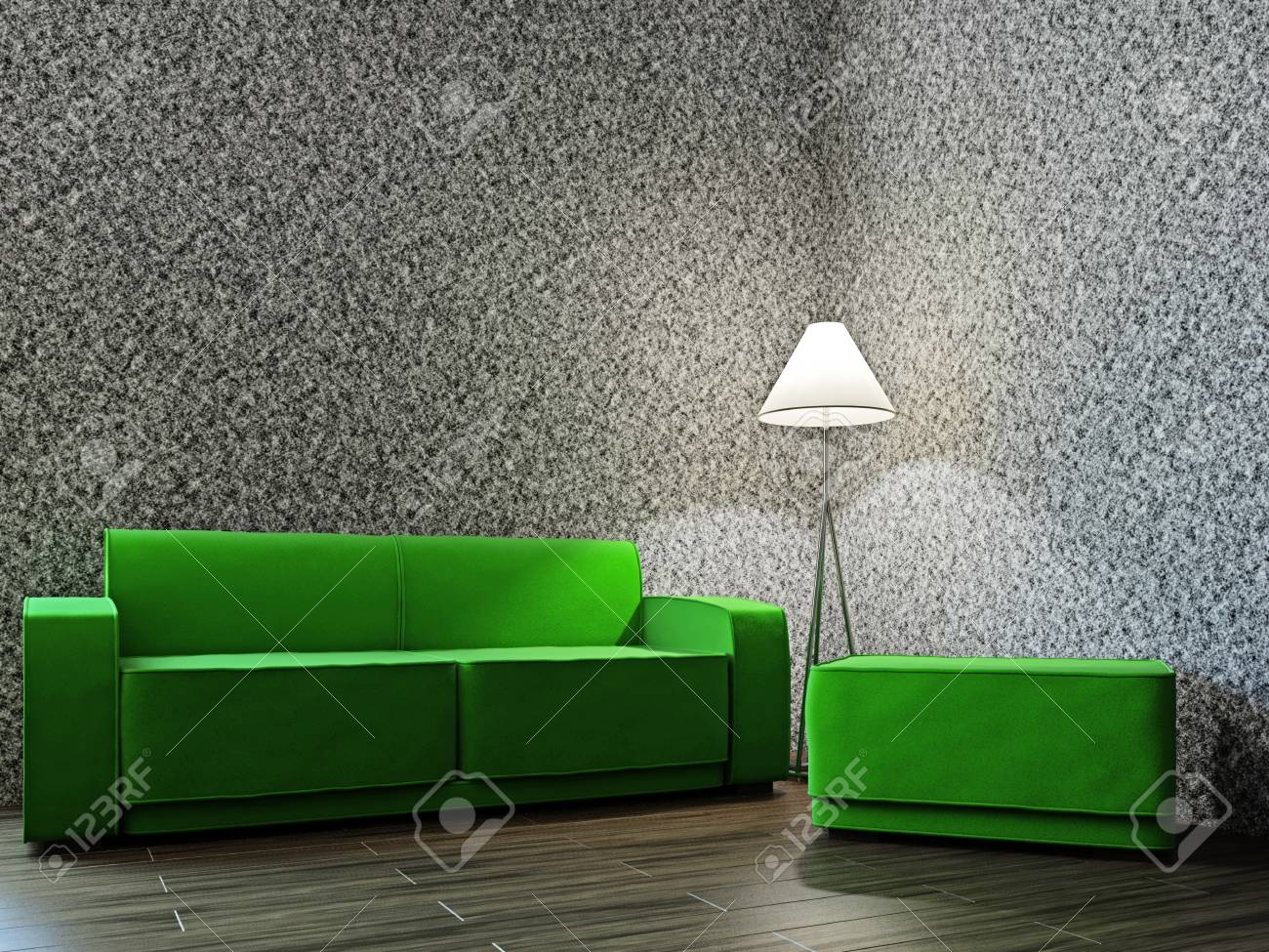 Room with sofa  and a lamp near the wall Stock Photo - 17180577
