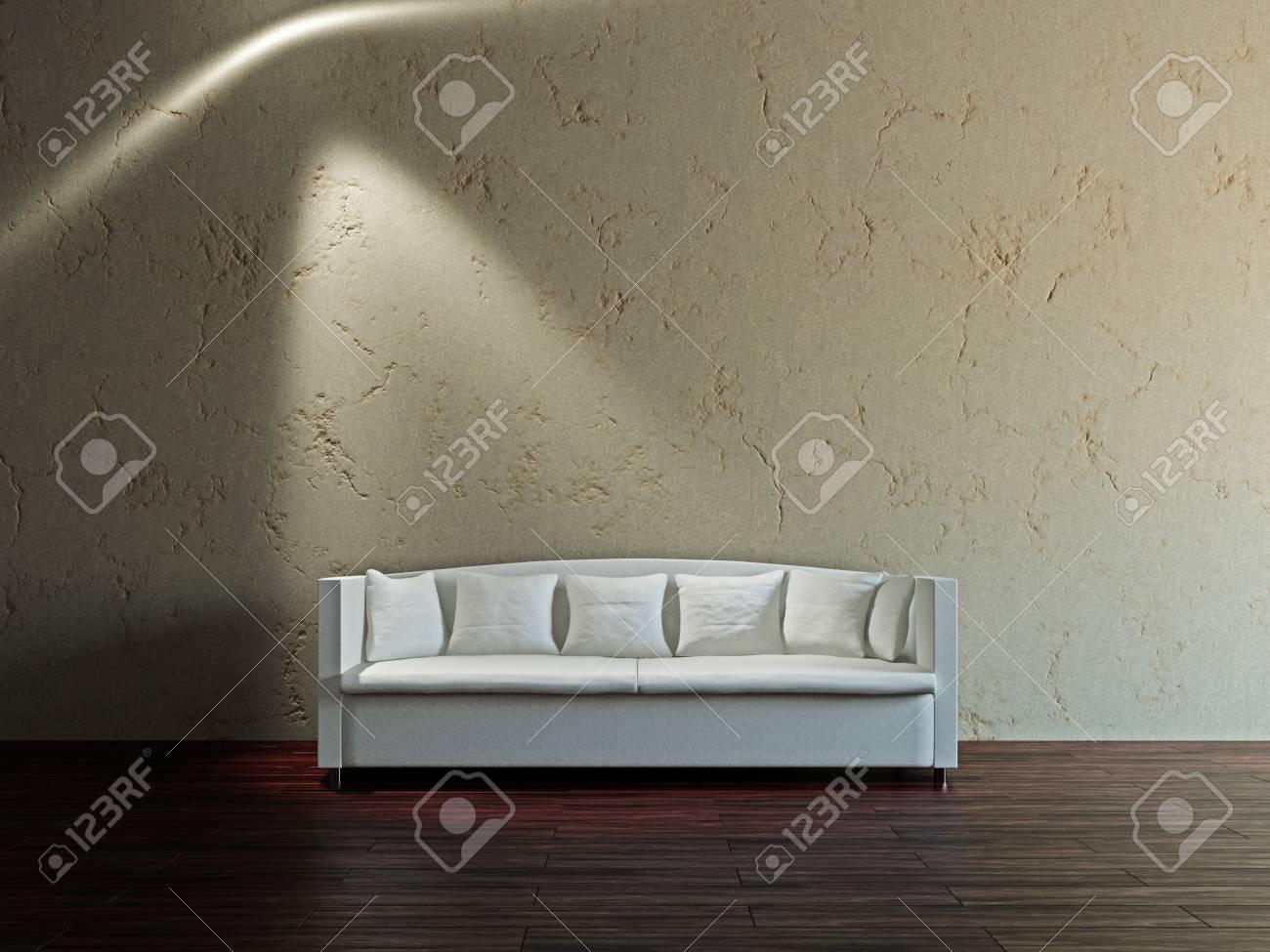 White sofa in the livingroom near the wall Stock Photo - 17180568