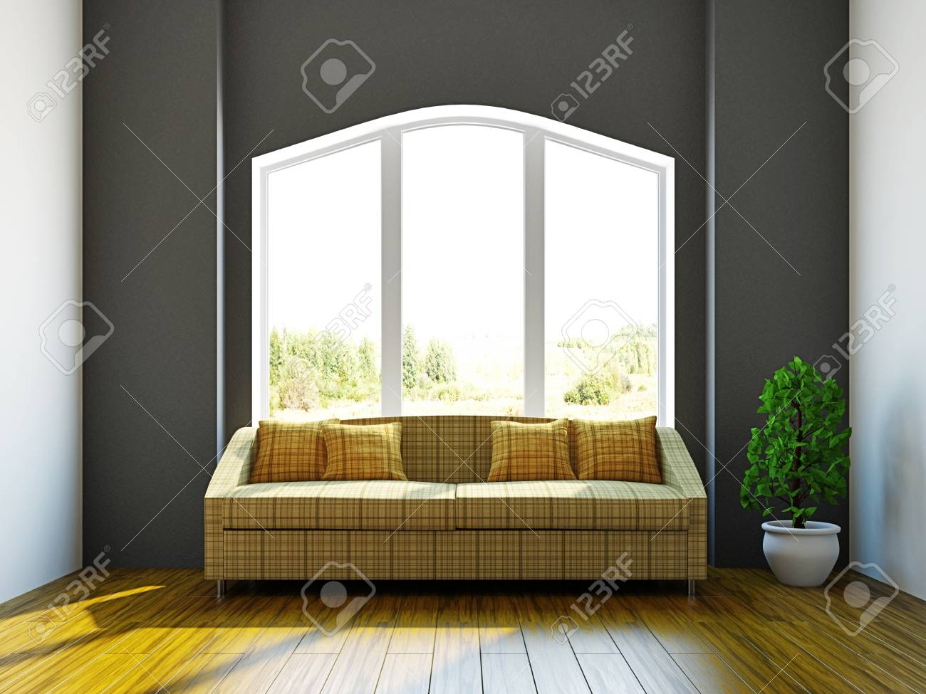 Room with sofa and a plant near the window Stock Photo - 17454499