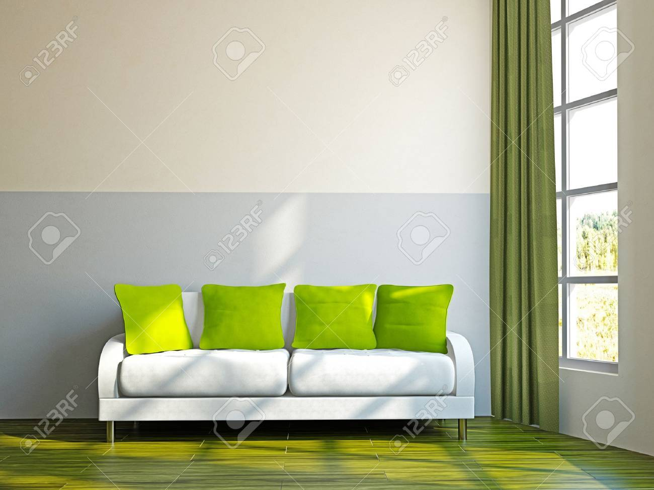 Livingroom with sofa and a plant near the window Stock Photo - 17454511