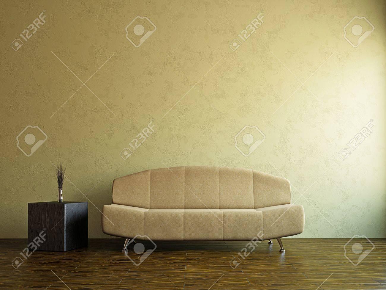Yellow sofa in the livingroom near the wall Stock Photo - 17742765