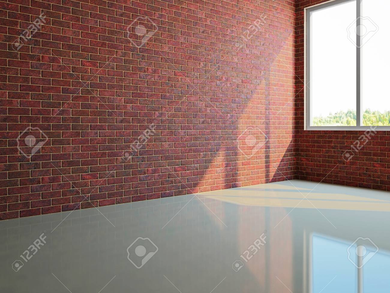 Empty room with brick wall and a window Stock Photo - 17742776