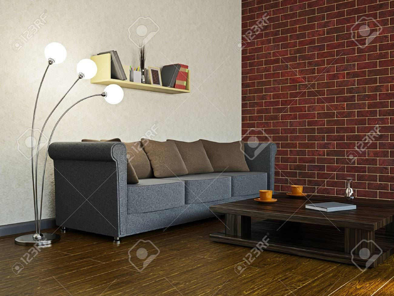 Sofa in the livingroom near the wall Stock Photo - 18058061
