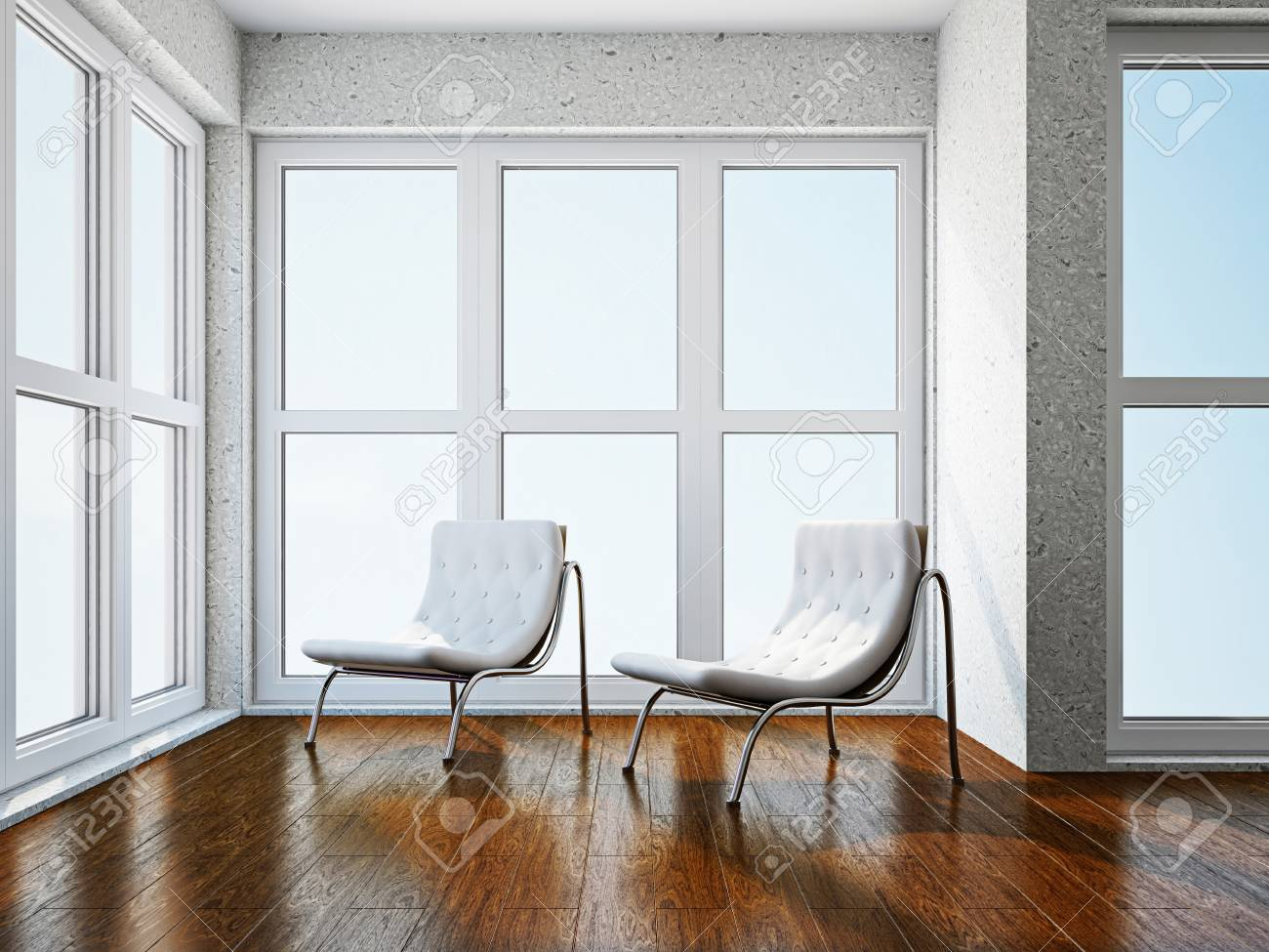 Room with two  chairs near the window Stock Photo - 18248425