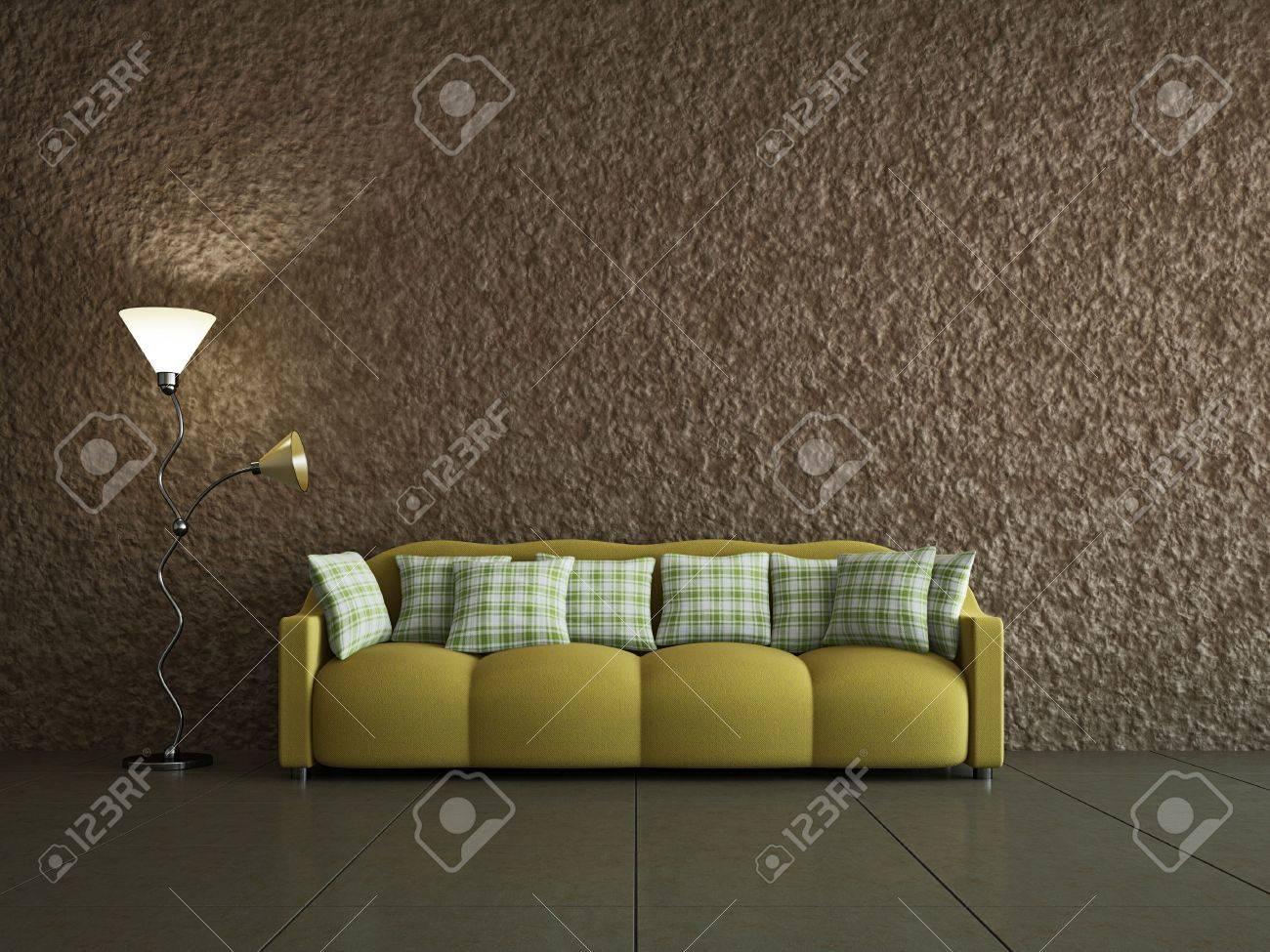 Salon avec sofa près de l\'ancien mur