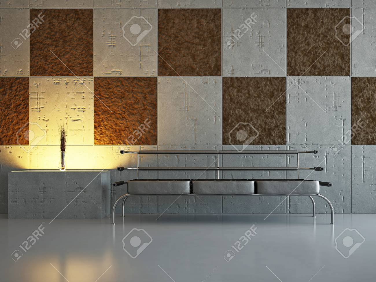 Livingroom with sofa near the wall Stock Photo - 18339529
