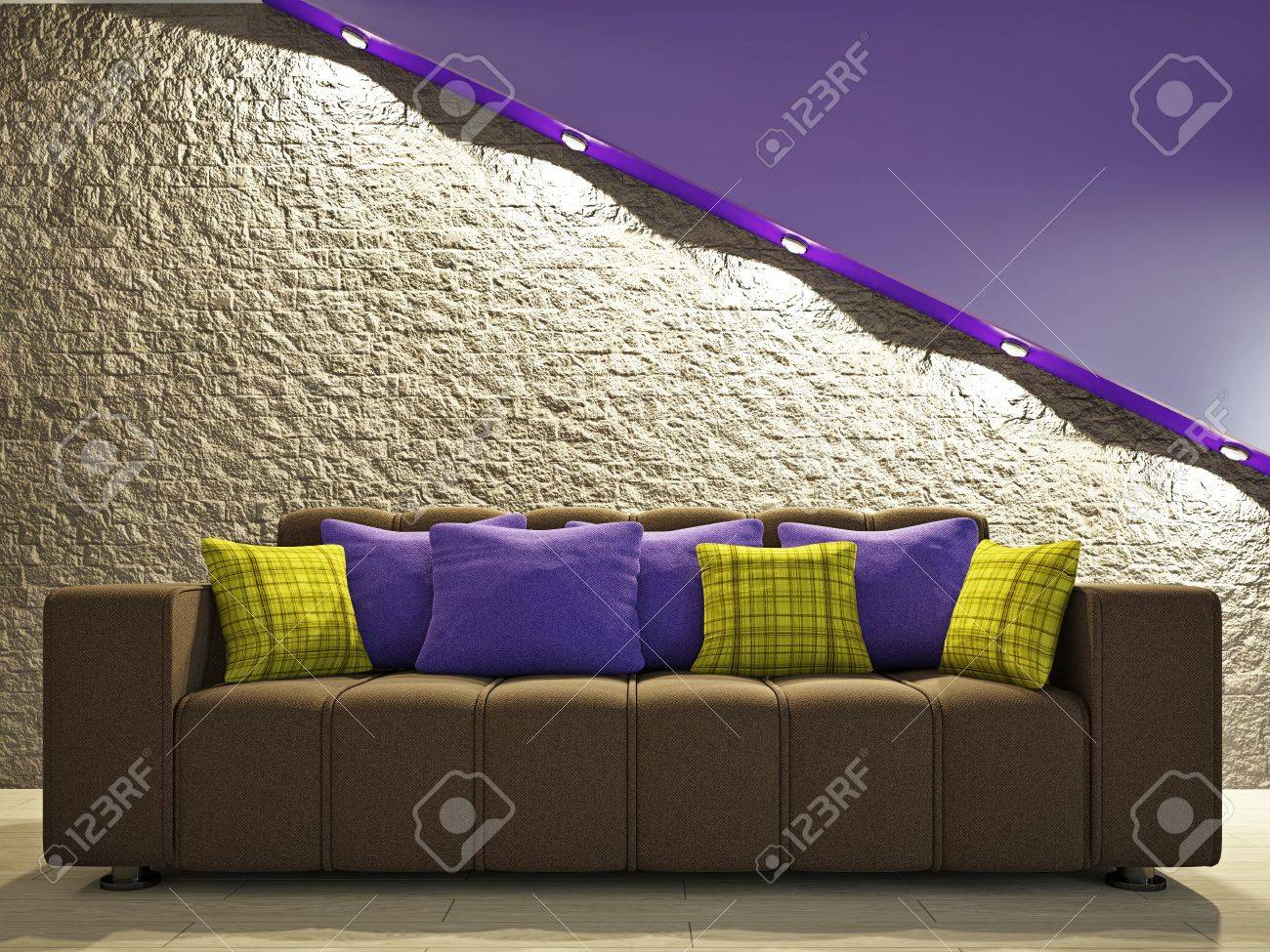 The Brick Living Room Furniture Brown Sofa With Pillows Near The Brick Wall Stock Photo Picture