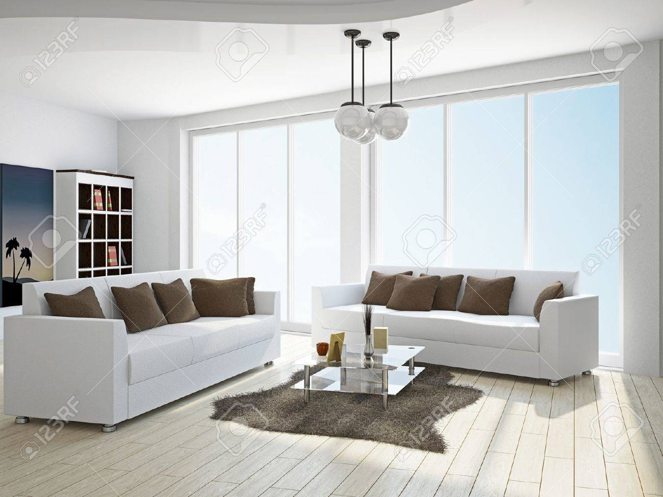 Livingroom With Sofas Near The Window Stock Photo Picture And