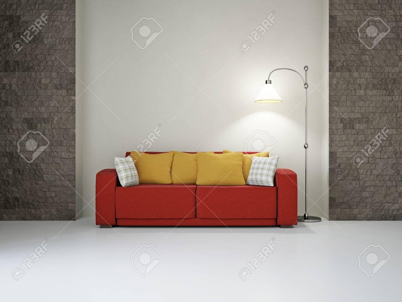 Livingroom with sofa near the wall Stock Photo - 18648131