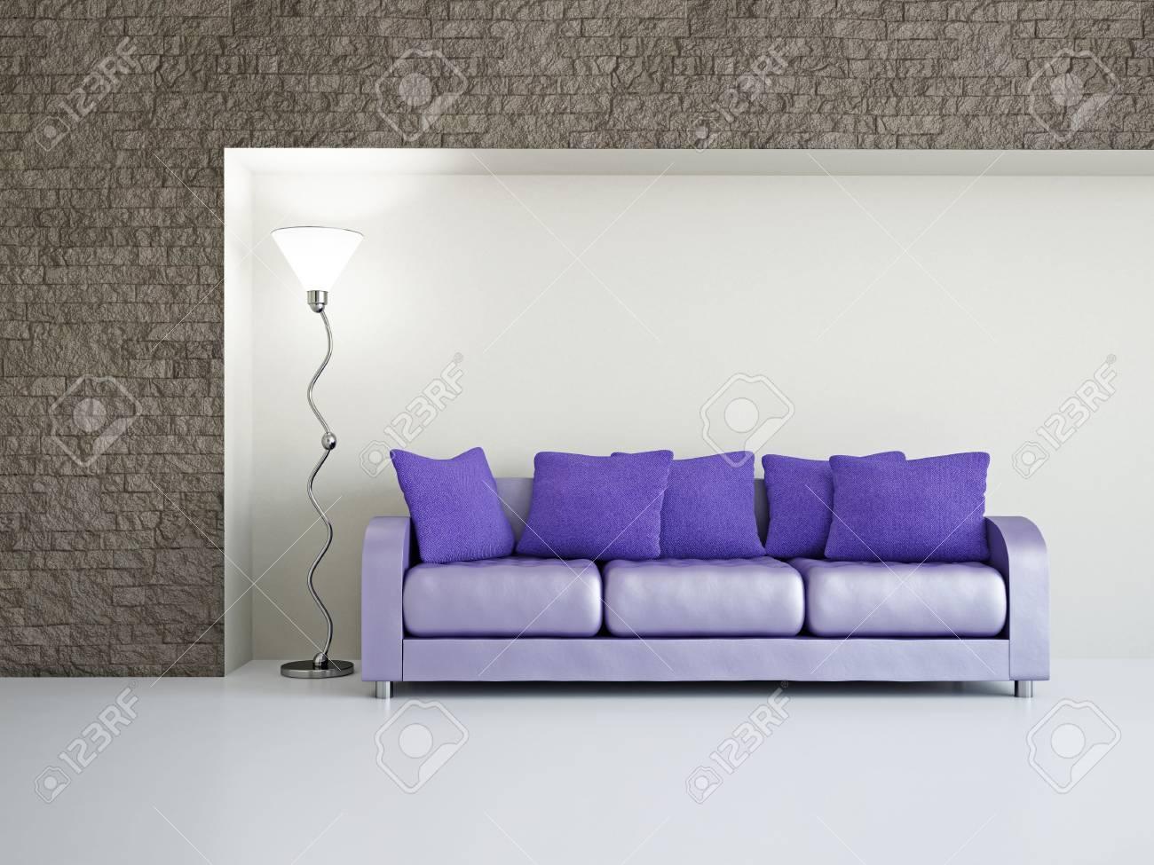 Livingroom with sofa near the wall Stock Photo - 18648135