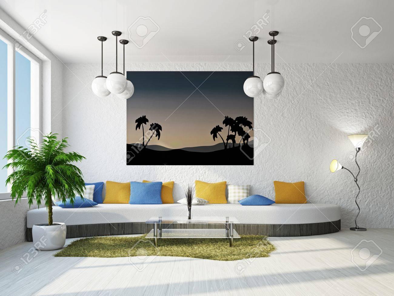 Livingroom with big sofa near the wall Stock Photo - 18902590