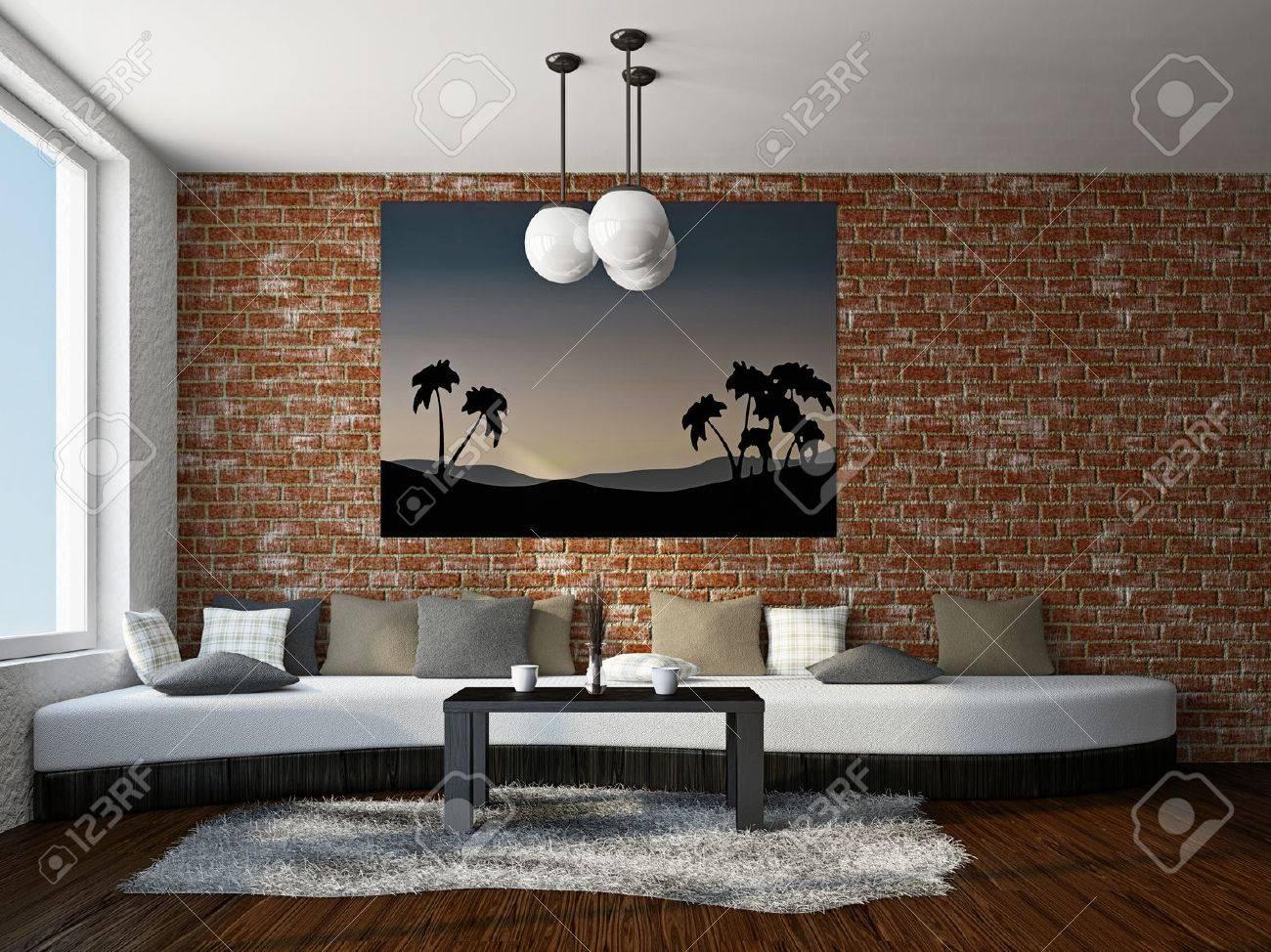 Livingroom With Big Sofa Near The Brick Wall Stock Photo   18902592