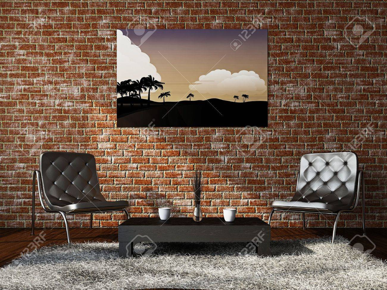 Livingroom With Armchairs Near The Brick Wall Stock Photo   18902597 Part 78