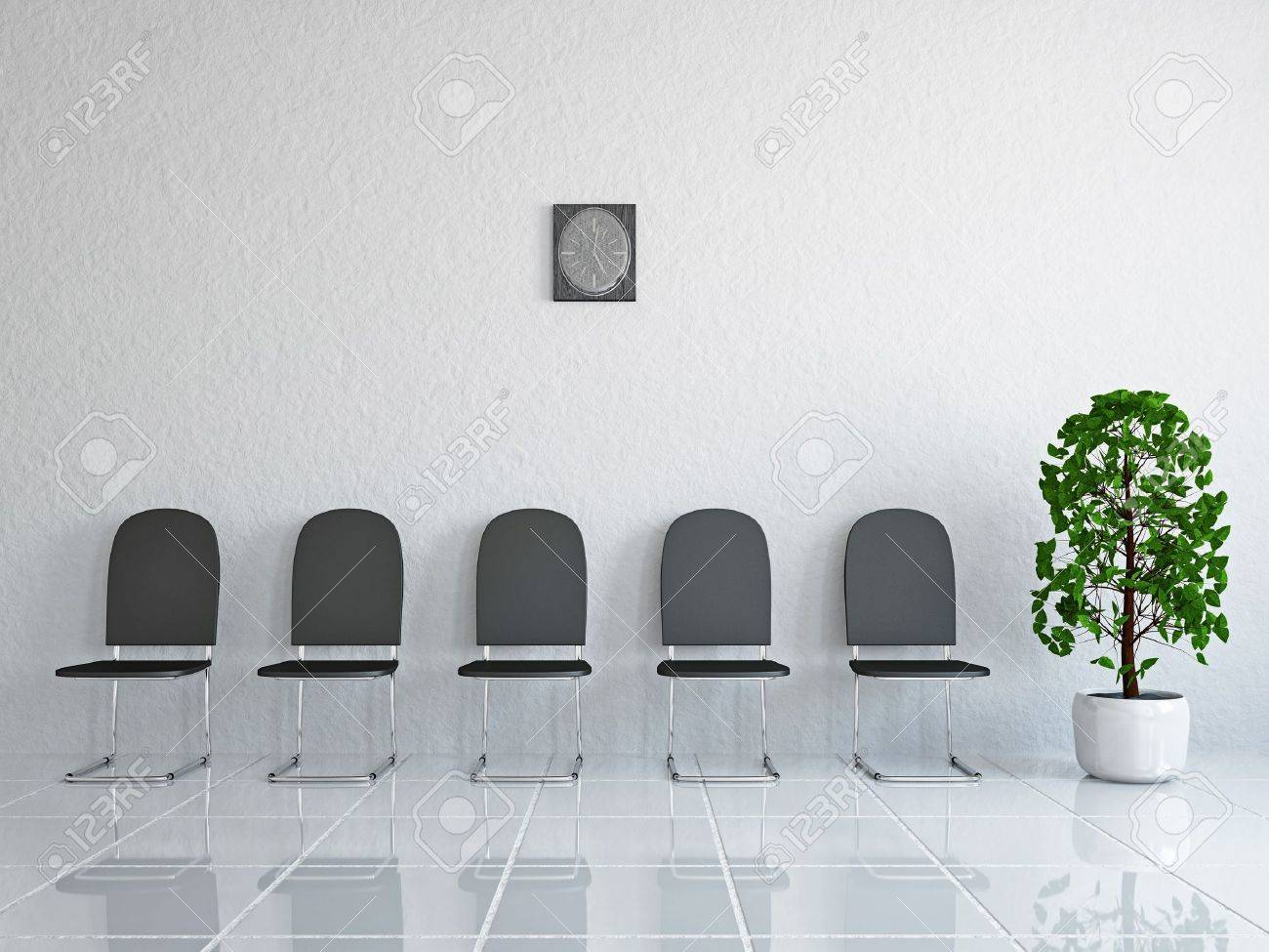 Reception With Leather Chairs Near A Wall Stock Photo, Picture And ...