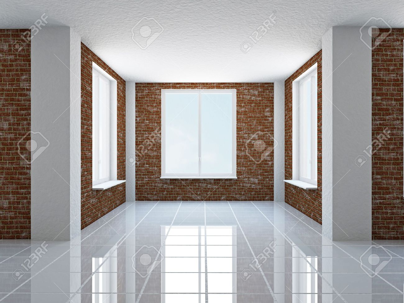 The empty hall with brick wall and windows Stock Photo   19025718. The Empty Hall With Brick Wall And Windows Stock Photo  Picture